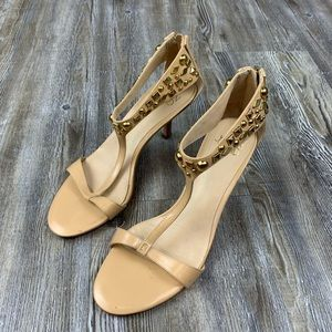 Joan & David Nude Ankle Strap Heels Gold Stud SZ6